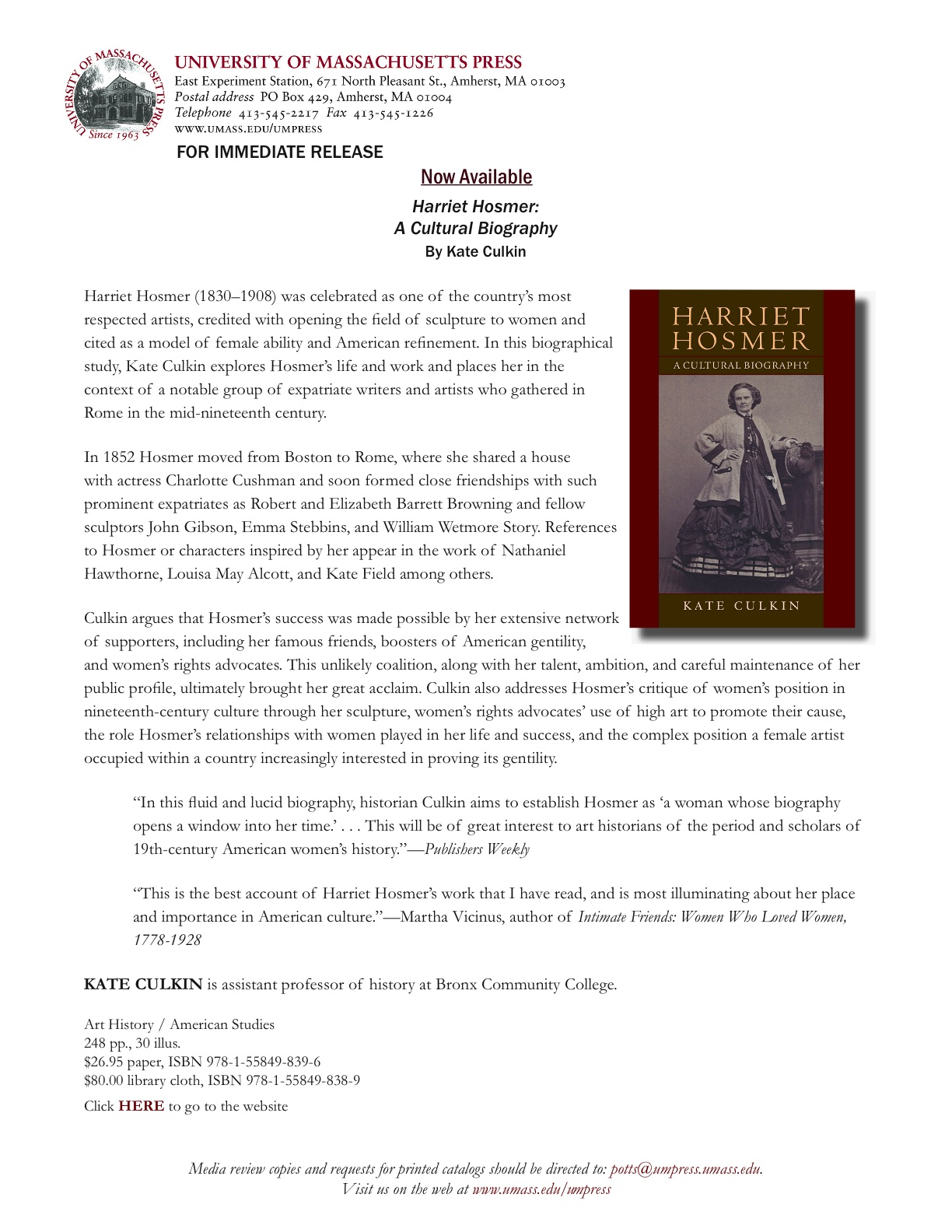 harriet hosmer a cultural biography example
